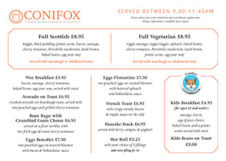 Conifox Breakfast Menu