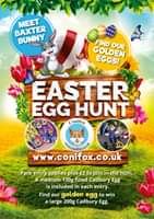 "Image may contain: outdoor and nature, text that says ""MEET BUNTER FIND GOLDEN OUR EGGS! EASTE EGG HUNT Conifox WWW. conifox co.uk www.conifox.co.uk Park entry applies plus £2 to join in the hunt. A medium 130g filled Cadbury Egg included in each entry. Find our golden egg to win a large 200g Cadbury Egg."""