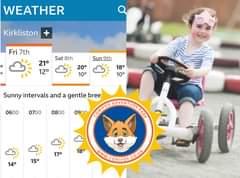 "Image may contain: 1 person, text that says ""WEATHER Kirkliston Fri 7th Sat 8th 21° 12° Sun 9th 20° 10° 18° 10° 0600 0700 Sunny intervals and a gentle bree: 0900 COTWOFADVANTURECANL ADVENTURE PARK 0800 17° 14° 18° 15° WIWW.CONIFOX&CO.UK CONIFO"""